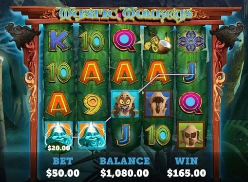 Выпадение выигрышной комбинации в автомате Mystic Monkeys