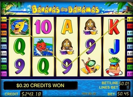 Выигрышная комбинация в слоте Bananas go Bahamas