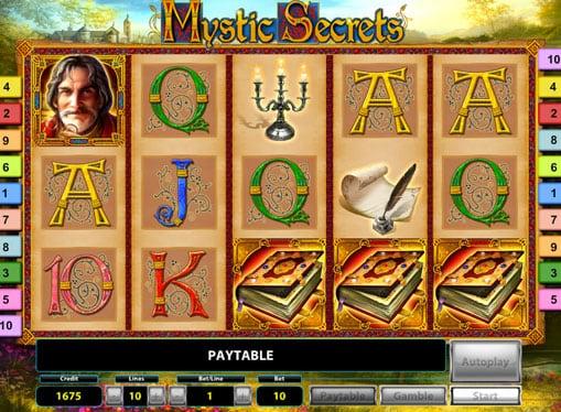 Барабаны с символами в игровом автомате Mystic Secrets Deluxe