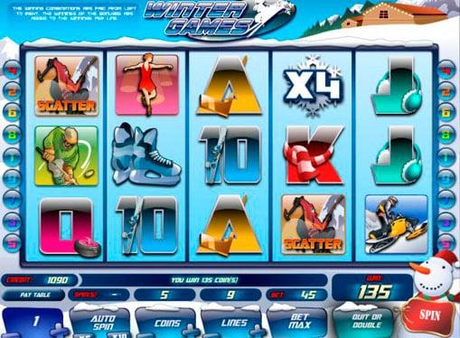 Комбинация символов на автомате Winter Games