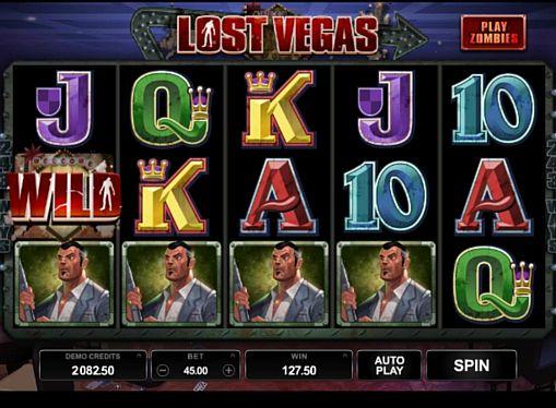 Призовая комбинация на линии в игровом автомате Lost Vegas