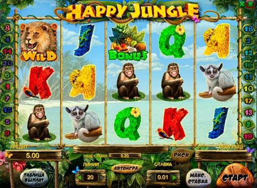 Дикий символ и бонус в игровом автомате Happy Jungle