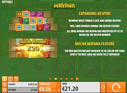 Описание респинов в слоте Mayana