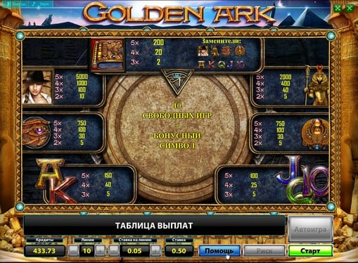Таблица выплат в Golden Ark Deluxe